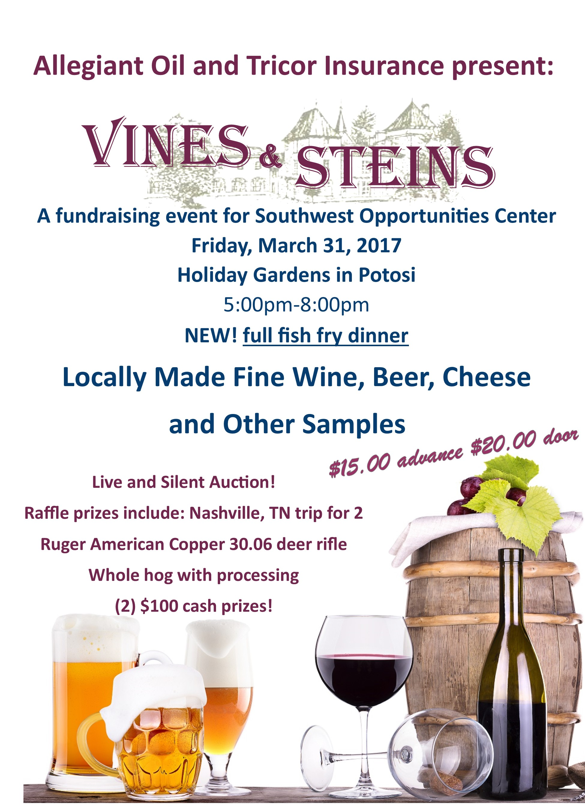 14th Annual Vines & Steins Fundraiser @ Holiday Gardens | Potosi | Wisconsin | United States